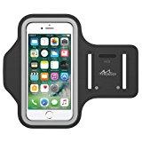 "MoKo Armband for iPhone 8 / iPhone 7 / 6s / 6, Sweatproof Sports Armband Running Arm Band for iPhone 8, 7, 6S, 6, 5S, 5, Galaxy S7, S6 edge, BLU 5.0, Moto G, Black (Fits Arm Girth 10.8""-16.5"")"