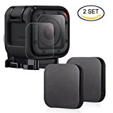 Hapurs Sports Camera Lens Cap and Lens Screen Protector, 2 Pack Protective Lens Cover Case and 2 Pack Anti-scratch Water-proof Tempered Glass Screen Protector for Gopro Hero 4 Session and 5 Session