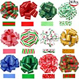 """24 Pieces Christmas Gift Wrap Ribbon Pull Bows (5"""" Wide); Easy and Fast Gift Wrapping Accessory for Christmas Gifts, Bows, Baskets, Wine Bottles Decoration, Gift Wrapping and Decoration Present."""