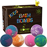 Kids Bath Bombs Gift Set with Surprise Toys, 6x5oz Fun Assorted Colored XL Bath Fizzies, Kid Safe, Gender Neutral with Organic Essential Oils –Handmade in the USA Organic Bubble Bath Fizzy