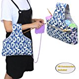 Teamoy Knitting Tote Bag, Travel Canvas Project Wrist Bag for knitting Needles(up to 14 Inches), Yarn and Crochet Supplies, Lightweight, Multipurpose, Perfect Size for Knitting on The Go(Large, Sheep)