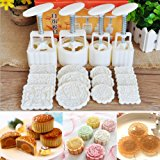 KINGSO Mid-Autumn Festival Mooncake Mold Hand Pressure Mould DIY Cake Decoration Tool with 12 Flower Stamps for 4 Sets White