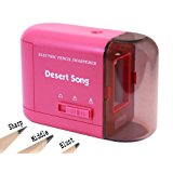 Desert Song Electric Pencil Sharpener, Powered by AC Adapter (includes), USB or Batteries (not includes), Quiet Pencil Sharpener for Classroom or Office, Works for Colored Pencils_Pink