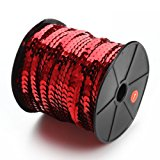 Linsoir Beads Spangle Flat Sequins Paillette Trim Spool String 6mm Sequins 100 Yards Red Color