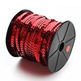 Linsoir Beads Spangle Flat Sequins Paillette Trim Spool String 6mm Sequins 100 Yards Red Color