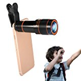 Phone Camera Lens Kit, Hizek 12X Universal Optical Zoom Lens Marco Lens Focus Telescope with Clip and Eyecups for iphone 8/7/6s/6/6 Plus/6s Plus Samsung Galaxy S8/S8 Plus/S7/S7e/S6/S5/Note5