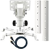 "Cheetah Mounts APMFW Universal Projector Ceiling Mount. Includes an Adjustable Extension Pole and Twisted Veins 15"" HDMI Cable"