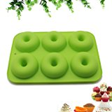 Nonstick 6-Cavity Silicone Donut Baking Pan - Professional Grade Doughnut Pan Mold (Green)