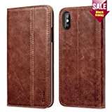 iPhone X Case, Benuo [Vintage Book Series] [Card Holder] Genuine Leather Case [Ultra Soft], Protective Folio Case Flip Cover with Stand for Apple iPhone X 2017,Brown