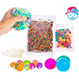 SENSORY WATER BEADS PACK + STRESS BALL FOR KIDS [20,000 Small/100 Large/6 Balloons] Squishy Water Gel Beads Pack for Sensory Kids - Best Tactile Sensory Toys for Kids with Autism ADHD & Sensory Needs