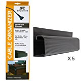 J Channel Cable Organizer by SimpleCord – 5 Black Raceway Channels - Cord Cover Management Kit for Desks, Offices, and Kitchens