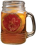 Circleware Nautical Anchor Yorkshire Mason Jar Mug with Glass Handles , 17 Ounce, Set of 4