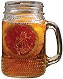 Circleware Nautical Anchor Yorkshire Mason Jar Mug with Glass Handles , 17 Ounce, Set of 4