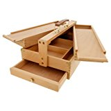 US Art Supply Large Multi-Function Wooden Artist Tool & Brush Storage Box