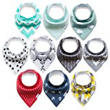10-Pack Bandana Bibs Upsimples Baby Drool Bibs for Drooling and Teething, Organic Cotton, Super Absorbent, 10 Stylish Design for Baby Boys Girls Toddler, Baby Shower Gift Set