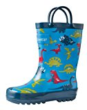 Oakiwear Kids Rubber Rain Boots with Easy-On Handles | Mermaids, Pirates, Crocodile, Purple Fairies, Blue Dino, Army