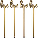 Royer 6 Inch Plastic Love Script Wedding Swizzle Sticks, Set of 48, Gold - Made In USA