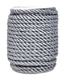 Mandala Crafts 5mm 3/16 Inch Rayon Home Décor Piping Braided Trim Rope Twisted Cord (5mm, Silver)