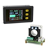 DROK Digital DC Multimeter 0-90V 0-100A Voltmeter Ammeter Power Capacity Time Meter Monitor, Charge-Discharge Battery Tester, Volt/Amp/Watt/Ah Meter Tester, LCD Color Screen with 20mm Hall Sensor