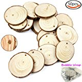"Goodlucky 50pcs 1.6""-2"" Unfinished Predrilled Natural Wood Slices"