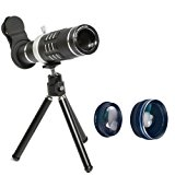 Phone Lens 18X Telephoto Lens Super Wide Angle Lens Macro Lens with Mini Flexible Tripod and Universal Clip for Most Smart phone 3 in 1 Camera Kit (Black)