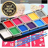 Award Winning Face Paint Kit For Kids | Professional 12 Color Mega Palette | Best Body Face Painting Kits | 3 Brushes, Glitter, 30 Stencils, Durable Case | Fda Compliant Non Toxic | Bonus Online Guide