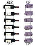 ESYLIFE Wall Mounted Wine Towel Rack, 6 Bottles, Black