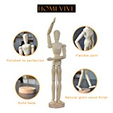 Wooden Drawing Model,Human Art Mannequin/Manikins for Drawing,12'' Tall.Made of Seasoned Hardwood,Male,with Base and Flexible Body,a Great Tool for Artists,also Makes an Interesting Desk Decoration
