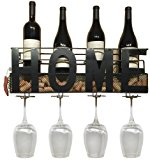 Home Wine Rack Wall Mounted Hanging Wine Cork Holder Holds 4 Bottles and 4 Wine Glasses - Comes with Paso Barrel and Bottle Gift Box! (Home Wall Mount Plus Glass Holders)