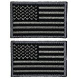 2 Pieces Tactical USA Flag Patch -Black & Gray- American Flag US United States of America Military Uniform Emblem Patches