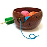 Premium Wooden Yarn Bowl For Knitting And Crochet, Large Size 7 inches by 4 inches, Durable and Portable Yarn Storage for Knitters