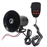 GAMPRO Car Siren Speaker, 12v 50w 7 Tones Sound Electronic Car Siren Vehicle Horn With Mic PA Speaker System Amplifier Emergency Sound for Cars Vans Trucks Motorcycles