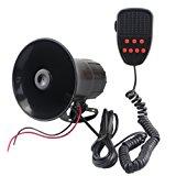 GAMPRO Car Siren Speaker, 12v 50w 7 Tones Sound Electronic Car Siren Vehicle Horn With Mic PA Speaker System Amplifier Emergency Sound for Cars Vans Trucks Motorcycles