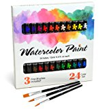 Watercolor Paint Set by JoiArt -- Quality Bright 24 Color Tube Set -- Art Painting Kit With 3 Brushes -- Perfect for Beginners, Students and Artists