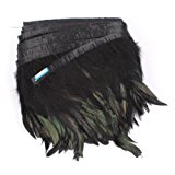 """AWAYTR Rooster Hackle Feather Fringe Trim 5-6"""" in Width Pack of 5 Yards (Black)"""