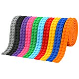 Block Tape, VERONES 10 Rolls (1 Meter/Roll) Loops Building Block Tape Multicolor Silicone Non-Toxic Safe Tapes with Reusable Self-Adhesive Strips as Brick Base Plates for Lego Toy Building Block Perfe