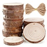 Caydo 20 Pieces 2.36-2.75 Inch Unfinished Predrilled Wood Slices with Holes Round Log Discs and 33 Feet Natural Jute Twine for Christmas Ornaments and Home Hanging Decorations