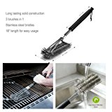 BBQ Grill Cleaning Brush, Brush, Triple Head BBQ Grill Brush with Stainless Steel Bristles, Black