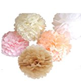 15 Piece Mixed 10'' 12'' 14'' Tissue Paper Pom Poms Flower Wedding Party Baby Girl Room Nursery Decoration