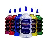 Basic 6 Color Glitter Glue Set, 6.7oz - 200 ml Bottles (Green, Gold, Red, Silver, Blue, and Purple)