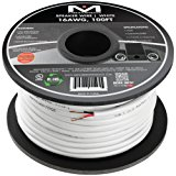 Mediabridge 16AWG 2-Conductor Speaker Wire (100 Feet, White) - 99.9% Oxygen Free Copper – ETL Listed & CL2 Rated for In-Wall Use (Part# SW-16X2-100-WH )