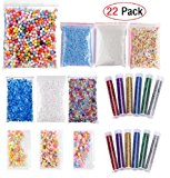 EDsports 22 Pack Slime Making Kits Supplies,Fishbowl Beads,Foam Balls,Glitter Shake Jars,Fruit Flower Candy Slices Accessories,DIY Art Craft for Homemade Slime, Wedding and Party Decoration