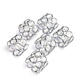 Feyarl Handmade Napkin Rings Sparkly Crystal Beads Napkin Holders Set of 6 pcs for Wedding Centerpieces Special Occasions Celebration Romantic Candlelit Banquet Festival Decoration