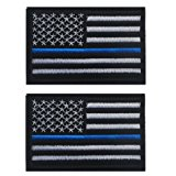 Tactical USA Flag Patch Law Enforcement 2 pieces Thin Blue Line American Flag US United States of America Military Morale Patches