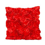 Usstore Decorative Pillowcases Rose Flower Waist Throw Pillow Cover Cafe Home Decoration for Living Sofas Beds Room (Red)