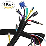 "Cable Management Sleeve 2nd - Expandable Computer Cord Organizer System - 19.5"" Flexible Desk Wire Sleeve with Zipper & Buckle - Perfect Protector for Audio, Visual, Networking Electronics - 4 Pack"
