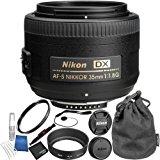 Nikon AF-S DX NIKKOR 35mm f/1.8G Lens Bundle with Manufacturer Accessories and Accessory Kit (15 Items)
