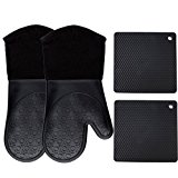 Homwe Silicone Oven Mitts and Potholders (4-Piece Sets), Kitchen Counter Safe Trivet Mats | Advanced Heat Resistance, Non-Slip Textured Grip Pot Holders(Black)
