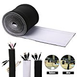 Cable Management Sleeves, ENVEL Neoprene Cord Organizer with Free Nylon for TV USB PC Computer Network Wires ( 59 inches ) DIY, Adjustable Black and White Reversible Wire Hider