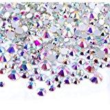 450 pcs 2mm - 6mm Resin Crystal AB round Nail Art Mixed Flatbacks Rhinestones Gems Mix SIZE ~ M1 - 30 [By Zealer]